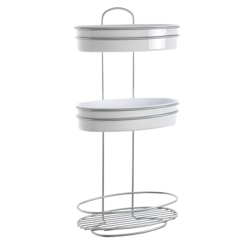 Metaltex orbit doucherek - 3 etages - wit/zilver