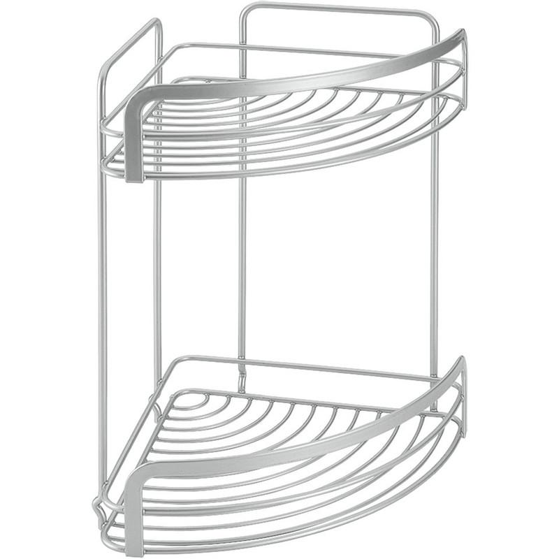 Metaltex viva hoekrek - 2 etages - zilverkleurig