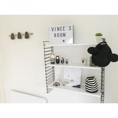 Tomado boekenrek retro - 3 etages - zwart/wit