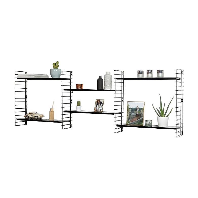 Tomado boekenrek retro - 3 etages - zwart