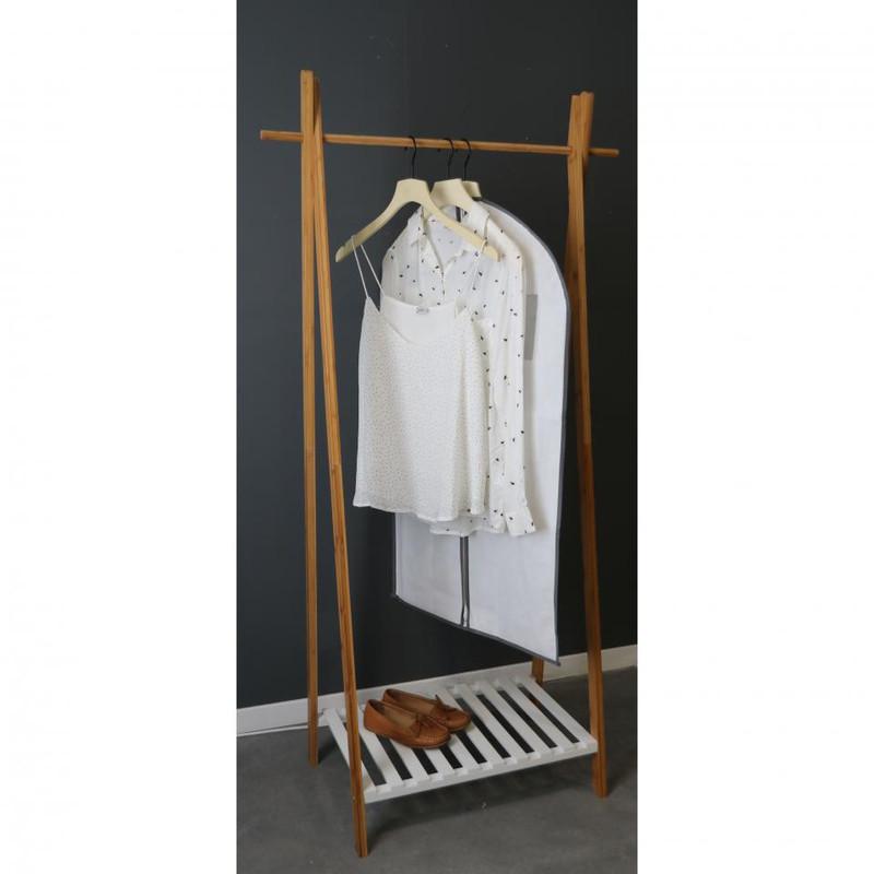 Compactor bamboe kledingrek met legplank - 80x44x160 cm
