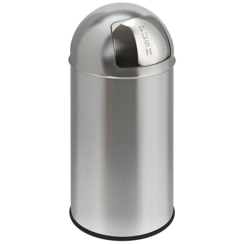 EKO pushcan afvalbak - 40 liter - chroom mat