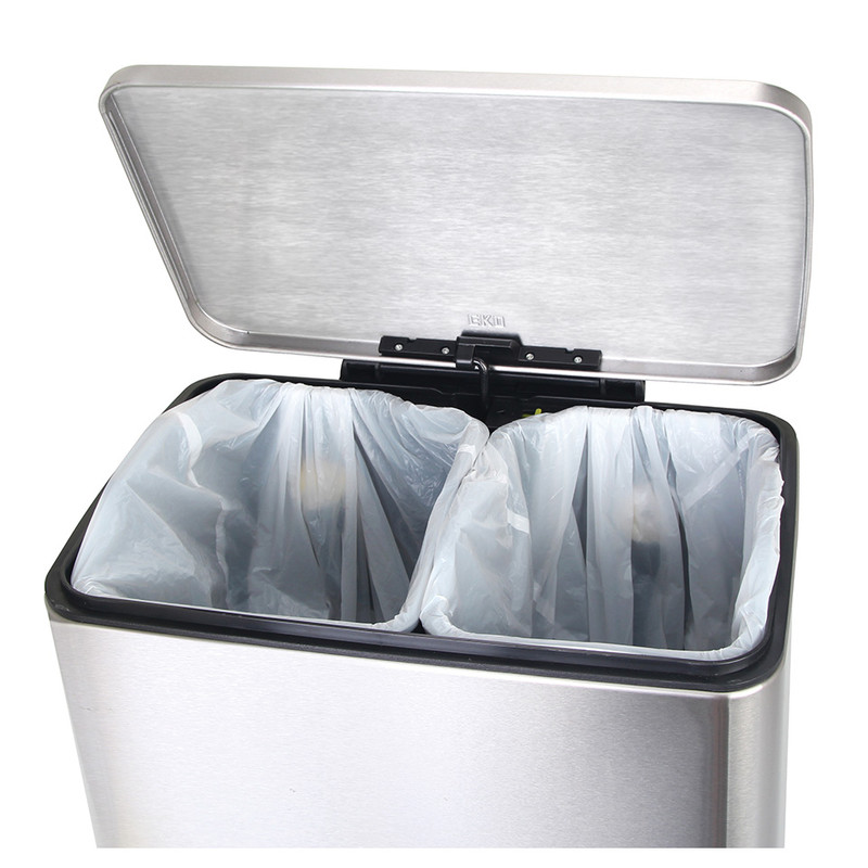 EKO recycle pedaalemmer e-cube - 10+9 liter - RVS mat