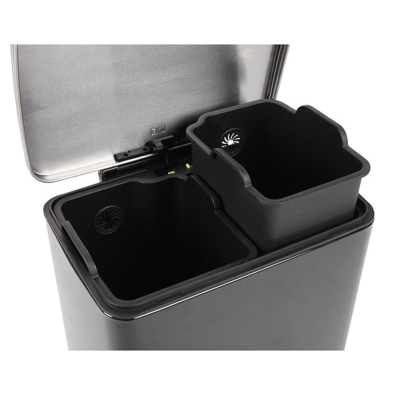 EKO recycle pedaalemmer e-cube - 10+9 liter - zwart
