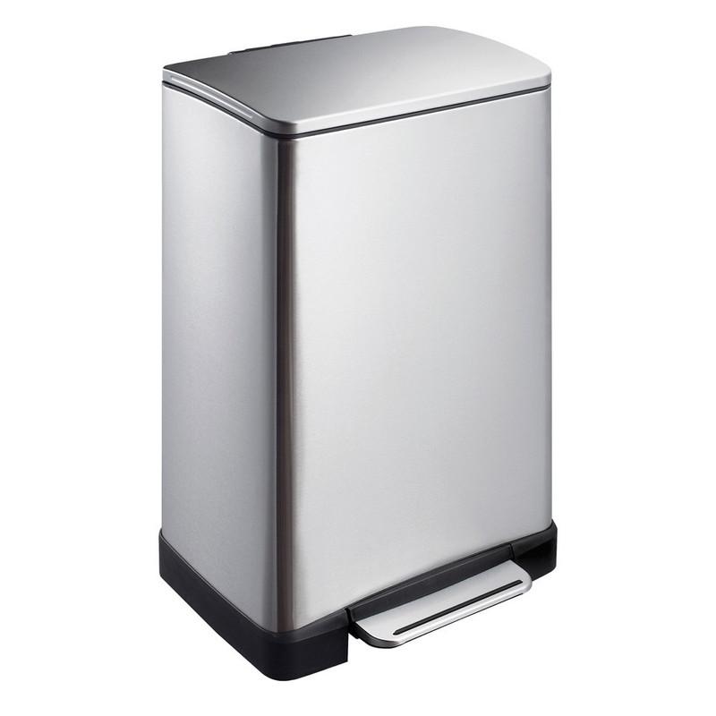 EKO pedaalemmer rechthoek - 40 liter - RVS mat