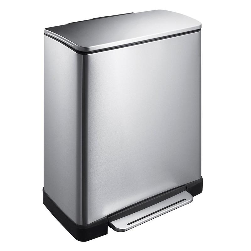 EKO pedaalemmer rechthoek - 50 liter - RVS mat