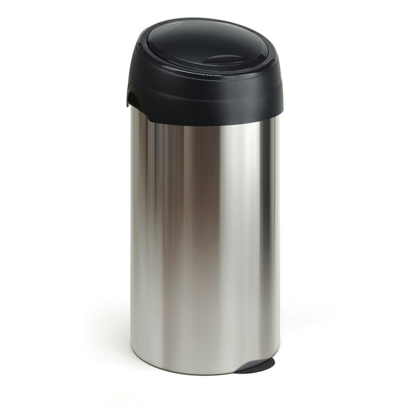 Meliconi  softtouch afvalbak - 60 liter - chroom/zwart