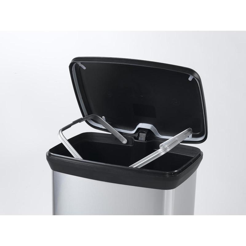Curver decobin pedaalemmer - 50 liter - zilver/zwart