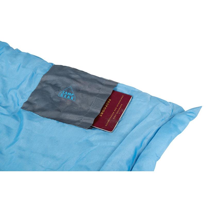 Camp Gear slaapzak festival - 190x75 cm - grijs/lichtblauw