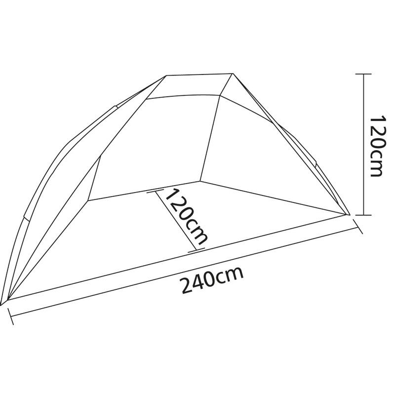 Camp Gear windschelp - 240x120x120 cm - blauw/zwart