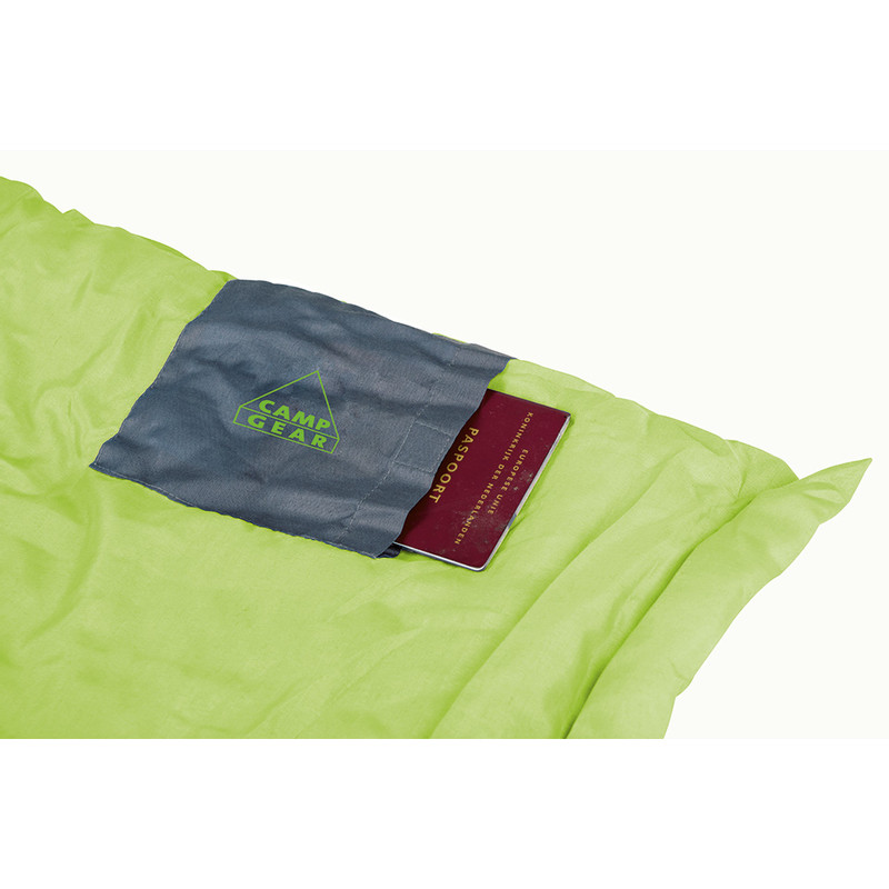 Camp Gear slaapzak festival - 190x75 cm - grijs/lime