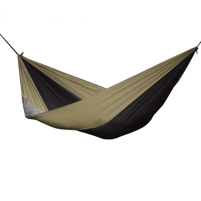Vivere reishangmat parachute - 2-persoons - zwart/bruin