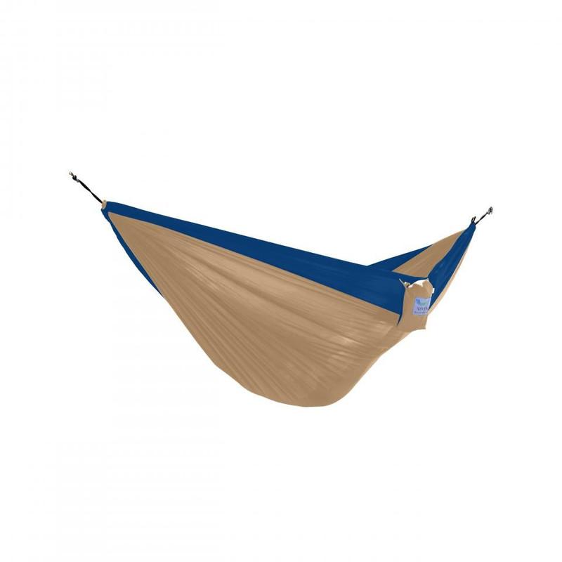 Vivere reishangmat parachute - 2-persoons - beige/marine blauw