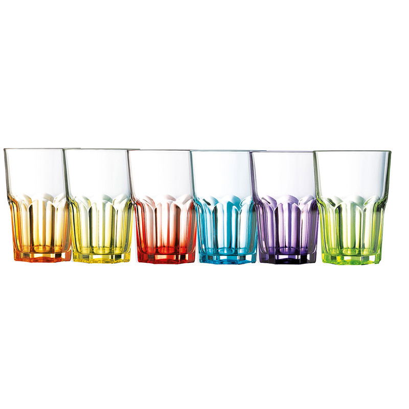 Luminarc glazen crazy colors - 40 cl - set van 6